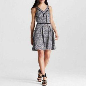 Mossimo Black White Print Sleeveless V Neck Dress